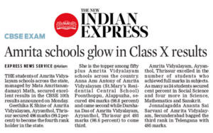 New Indian Express AV 10th CBSE result news